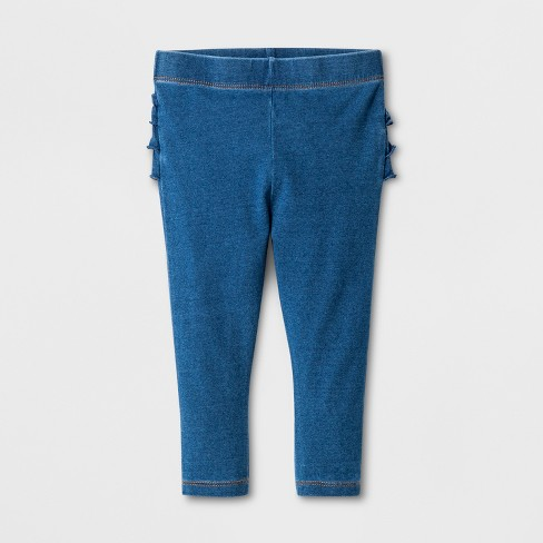 Baby Girls' Ruffle Faux Jeans - Cat & Jack™ Light Wash - image 1 of 2