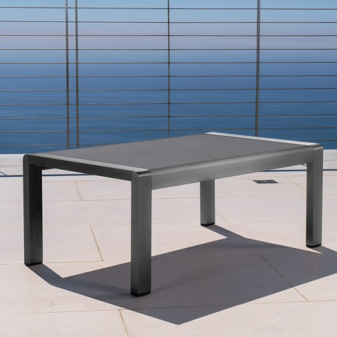 Cape Coral Rectangle Aluminum Coffee Table With Glass Top