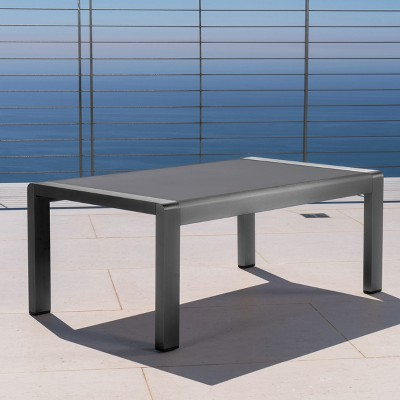 Cape Coral Rectangle Aluminum Coffee Table With Glass Top   Christopher  Knight Home : Target