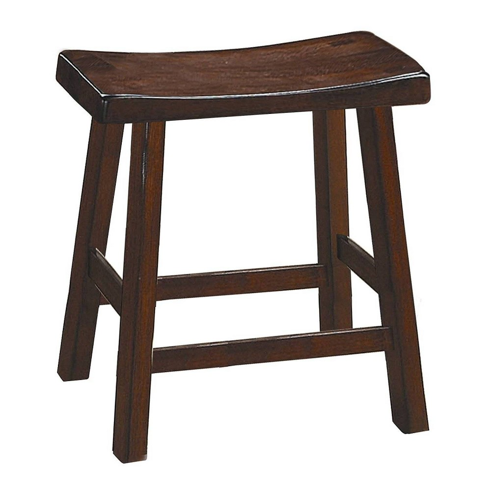 "Image of ""18"""" Set of 2 Wooden Counter Height Stool with Saddle Seat Brown - Benzara"""