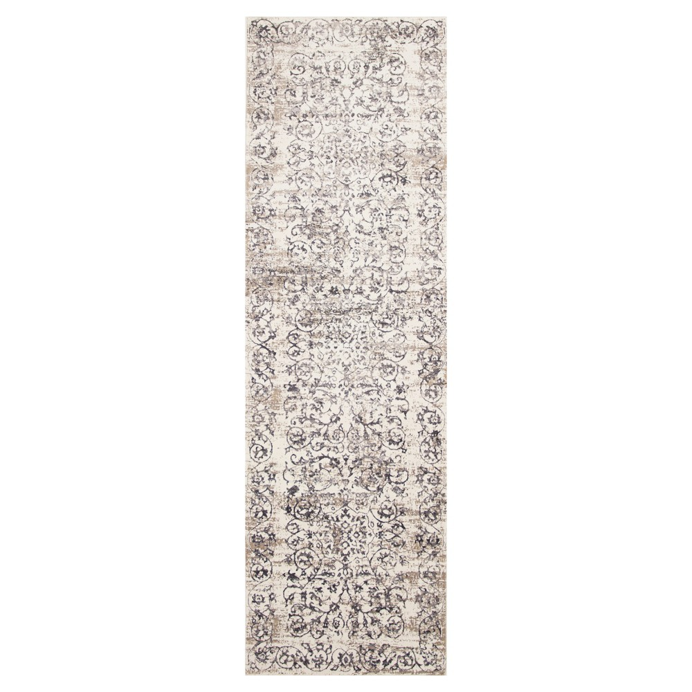 "Image of ""Ivory Gray Damask Pressed/Molded Runner 2'2""""x6'11"""" - KAS Rugs, Size: 2'2"""" x 6'11"""" Runner"""