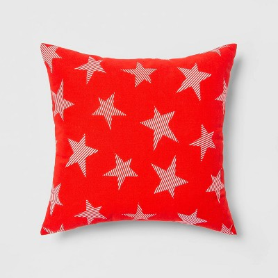 Indoor/Outdoor Striped Stars Throw Pillow Red/White - Sun Squad™