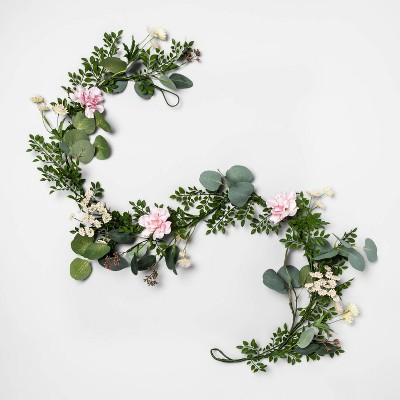 """60"""" x 5"""" Artificial Baby's Breath & Camellia Garland Green/Pink - Opalhouse™"""