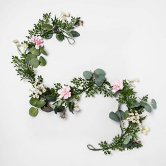 "60"" x 5"" Artificial Baby's Breath & Camellia Garland Green/Pink - Opalhouse™"