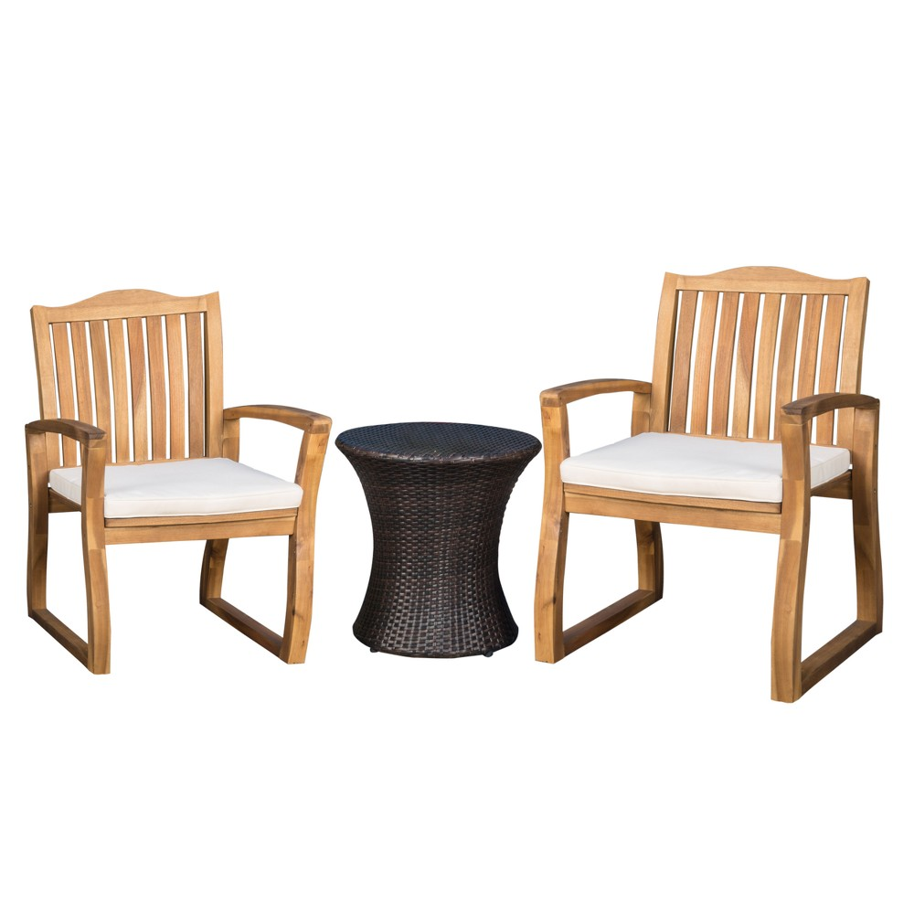 Avalon 3pc Acacia Chat Set - Teak/Brown - Christopher Knight Home