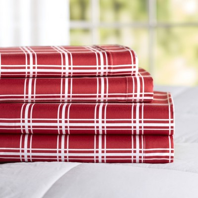 Lakeside Red and White Windowpane Bedding Sheet Set with Pillowcases
