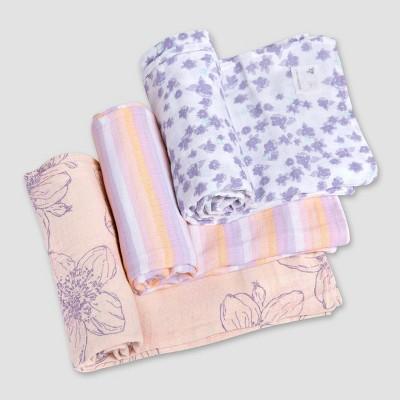 Burt's Bees Baby® Woven Muslin Blankets - 3pk Blackberry Flower