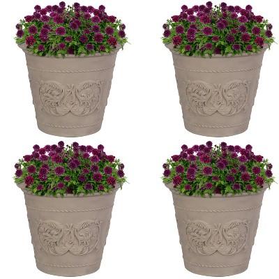 """Sunnydaze Arabella Polyresin Outdoor/Indoor Extra-Durable Double-Walled Fade-Resistant Flower Pot Planter - 20"""" Diameter - 4-Pack - Beige"""