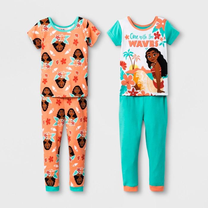 Toddler Girls' Moana 4pc Pajama Set - Green - image 1 of 1