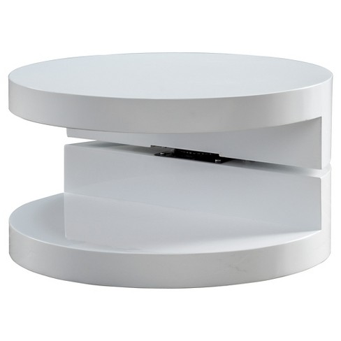 Osto Small Oval Rotatable Coffee Table Glossy White - Christopher Knight Home - image 1 of 4