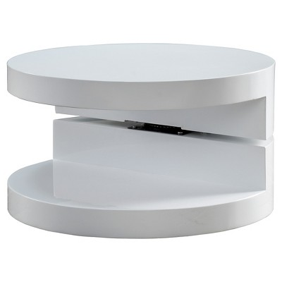 Gentil Osto Small Oval Rotatable Coffee Table Glossy White   Christopher Knight  Home