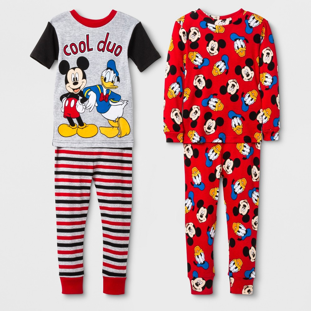 Toddler Boys' Mickey Mouse 4pc Pajama Set - Red 2T