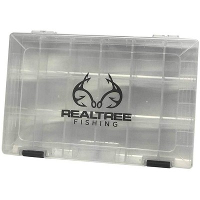 Insights Fishing i3700 Realtree Clear Fishing Tackle Tray Adjustable Storage Organizer Box with Specialized Locking System, Clear