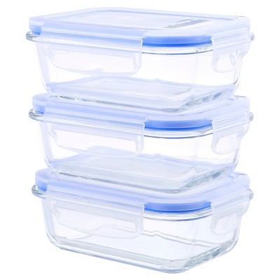 Superb Kinetic GoGreen Glasslock Elements 6 Piece Rectangular Oven Safe Glass Food  Storage Container Set With Vented Lid, 36 Oz : Target