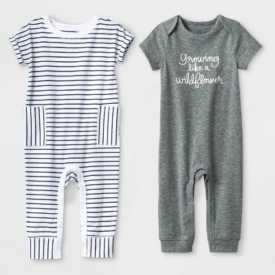 Baby Girls' 2pc Short Sleeve Growing Like a Wildflower and Stripe Rompers - Cat & Jack™ Gray/White 3-6M