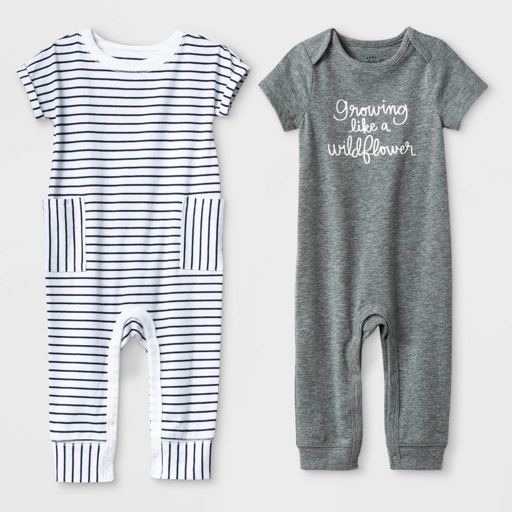 Baby Girls' 2pc Short Sleeve Growing Like a Wildflower and Stripe Rompers - Cat & Jack Gray/White 12M