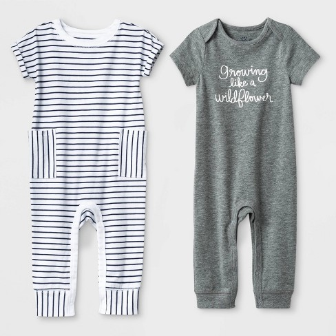 493ecaf2269 Baby Girls  2pc Short Sleeve Growing Like a Wildflower and Stripe Rompers -  Cat   Jack™ Gray White
