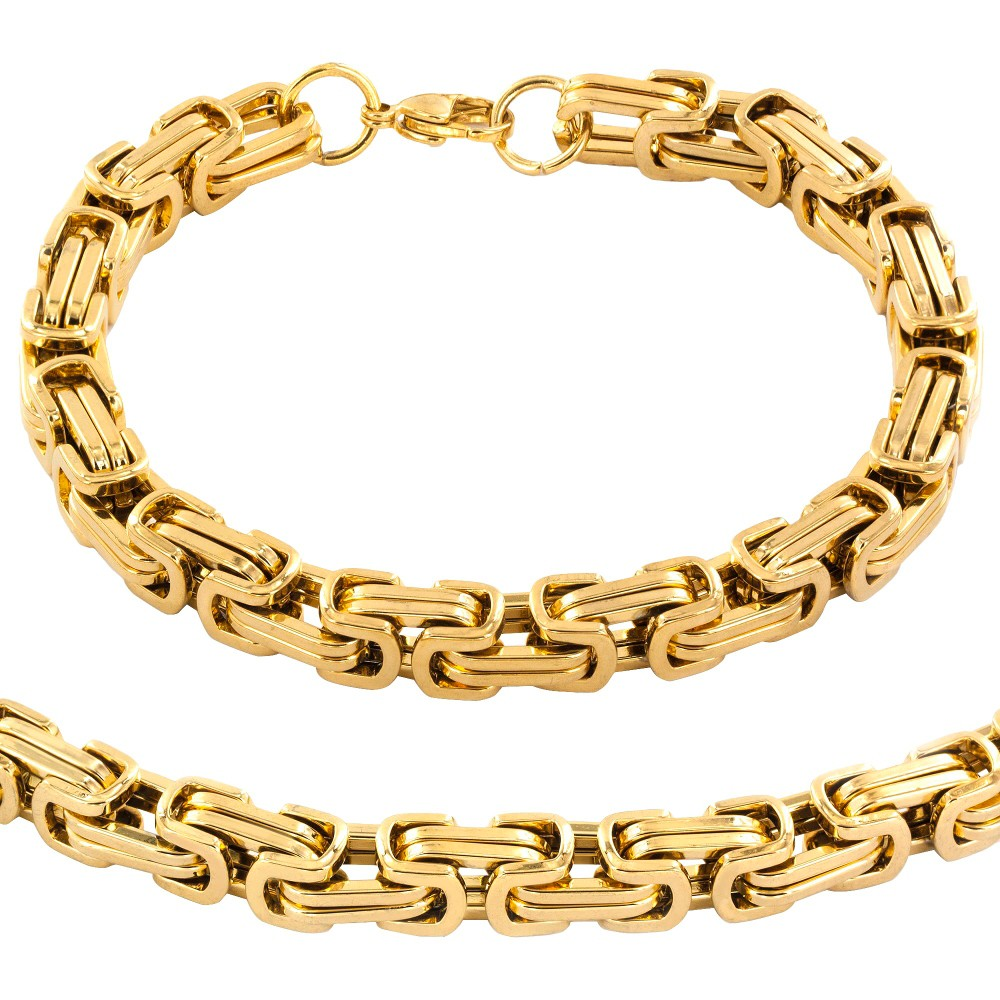 60s -70s Jewelry – Necklaces, Earrings, Rings, Bracelets Mens Stainless Steel Plated Byzantine Chain Necklace and Bracelet Set - Gold $30.39 AT vintagedancer.com