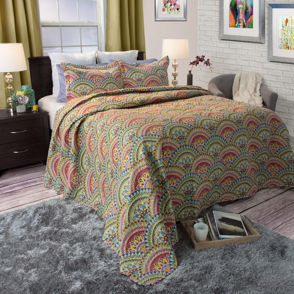Melanie Quilt 3 Piece Set (King) - Yorkshire Home, Multicolored