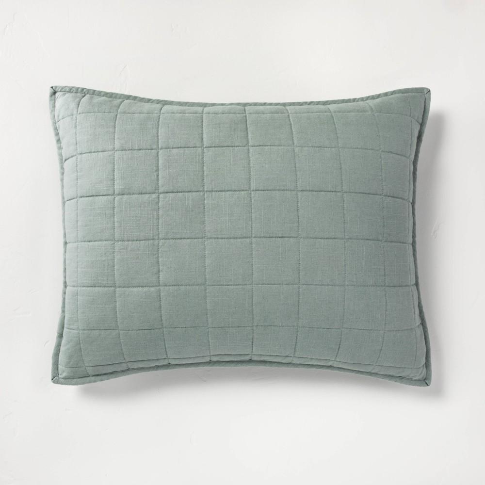Standard Heavyweight Linen Blend Quilted Pillow Sham Sage Green - Casaluna