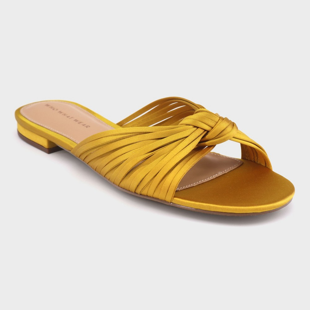 Women's Grace Satin Knotted Slide Sandals - Who What Wear Yellow 7.5