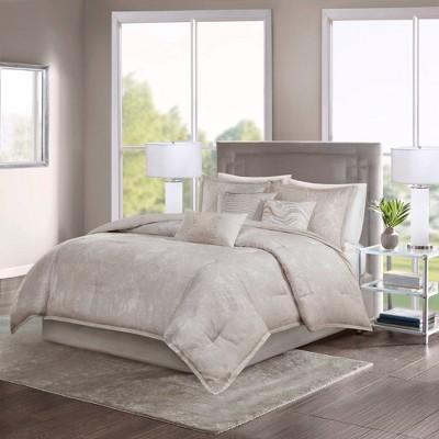 Karlene California King 7pc Cotton Sateen Comforter Set Rose Gold/Beige