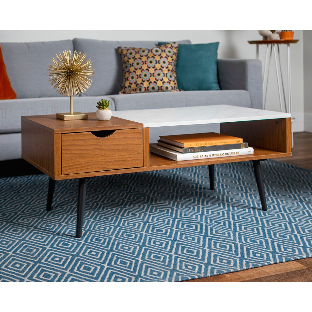 Wood and Faux Marble Coffee Table Acorn - Saracina Home
