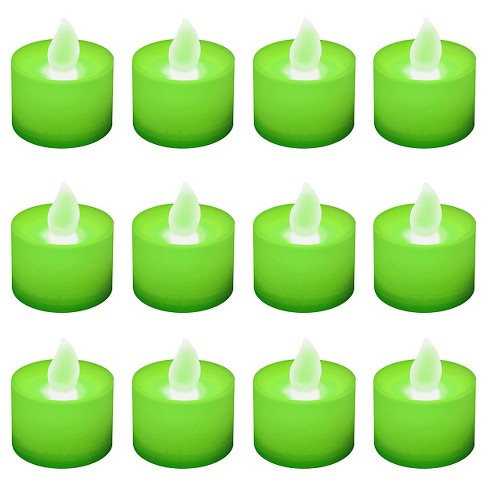 12ct Battery Operated Led Tea Lights Green