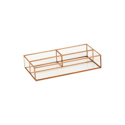 "10""X5""X2"" 3 Compartment Vertical Glass & Metal Vanity Organizer Copper Finish - Threshold™"