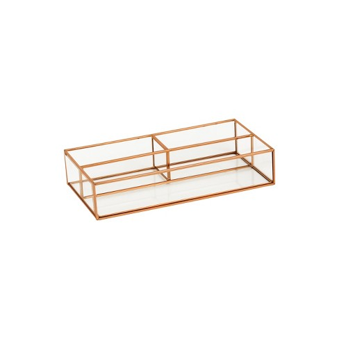 """10""""X5""""X2"""" 3 Compartment Vertical Glass & Metal Vanity Organizer Copper Finish - Threshold™ - image 1 of 1"""