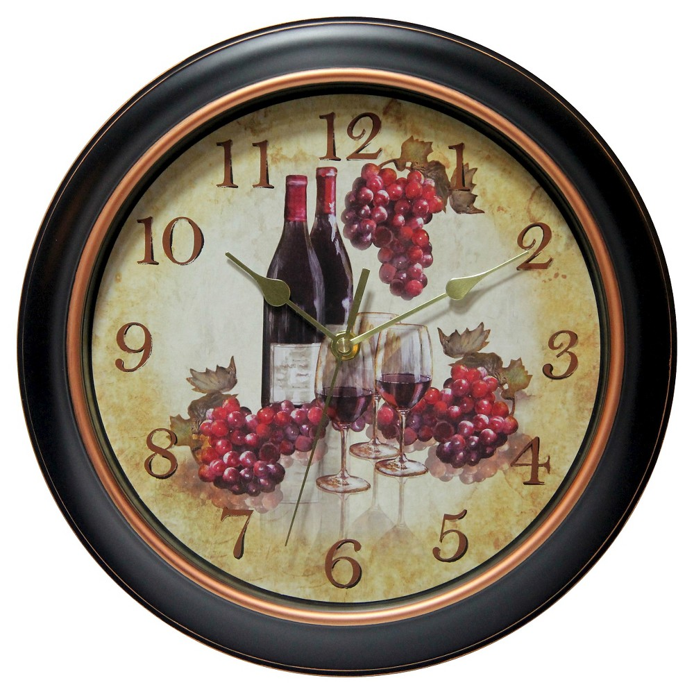 Valencia Wine and Grape 12 Round Wall Clock Black/Beige - Infinity Instruments, Multi-Colored