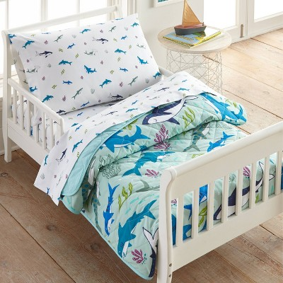 4pc Toddler Shark Attack Cotton Bed in a Bag - WildKin