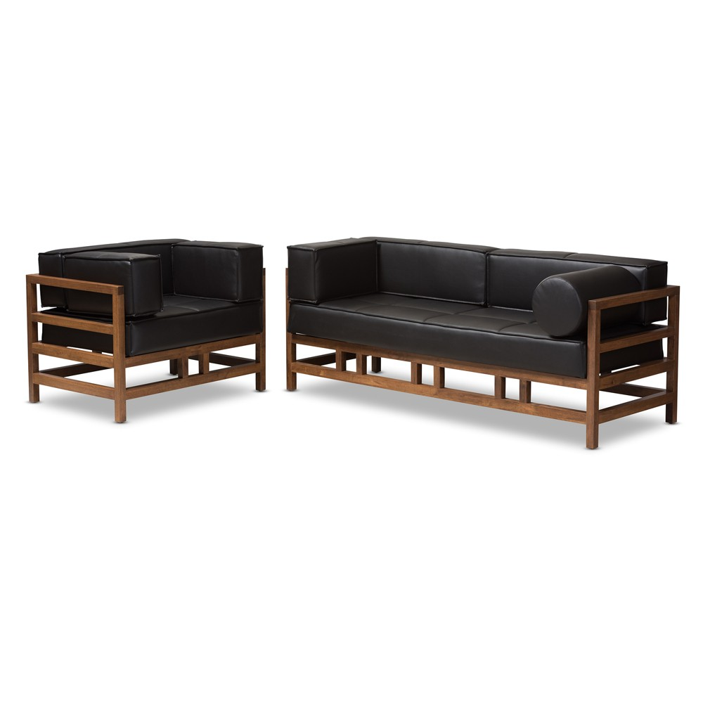 Shaw Midcentury Modern Pine Faux Leather Walnut Wood 2pc Living Room Sofa Set Black - Baxton Studio