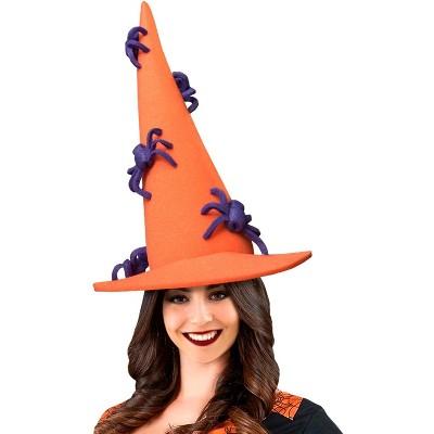Funky Fresh Funky Fresh Orange Witch w/ Spiders Adult Foam Costume Hat