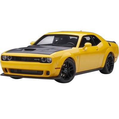 Dodge Challenger SRT Hellcat Widebody Yellow Jacket with Satin Black Hood 1/18 Model Car by Autoart