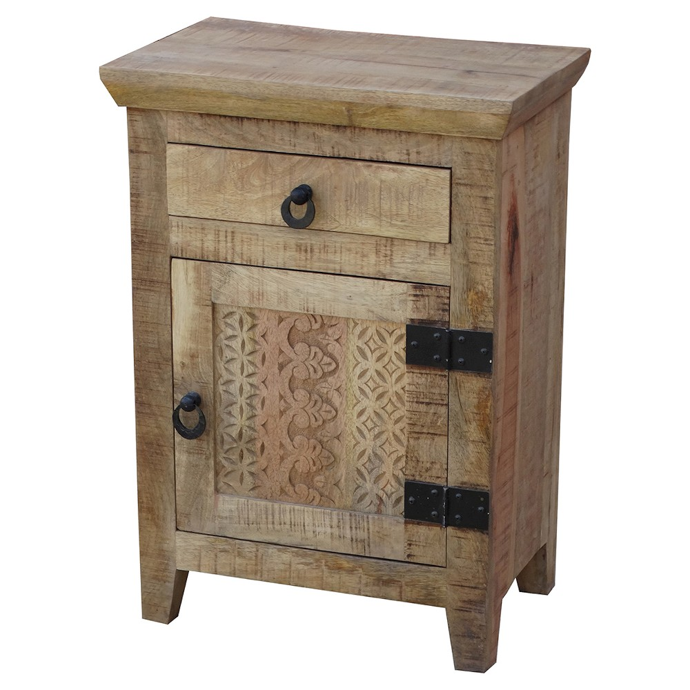 Image of 1 Door and 1 Drawer Nightstand -(28H x 20W x 13D) - Natural - Timbergirl, White