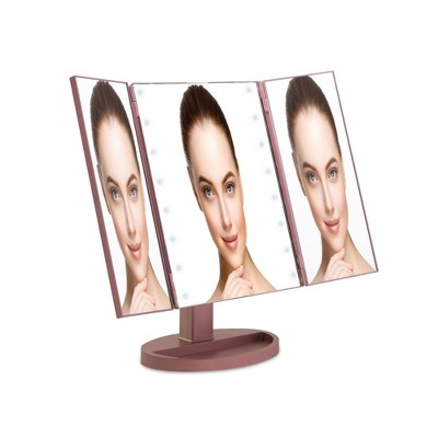 Tri Fold LED Vanity Mirror with Smart Touch Champagne - Coby