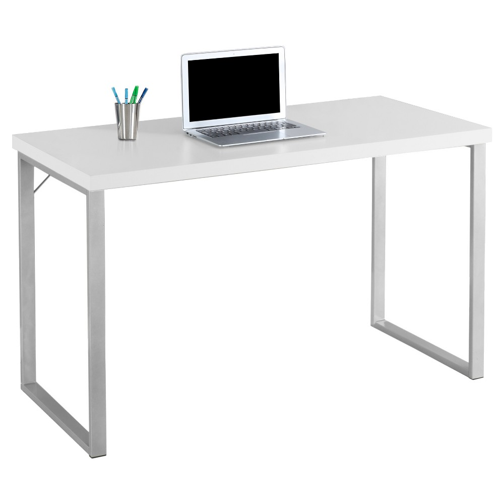 Contemporary Silver Metal Computer Desk - White -EveryRoom