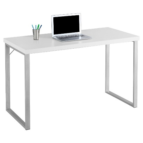 Contemporary Silver Metal Computer Desk White Everyroom
