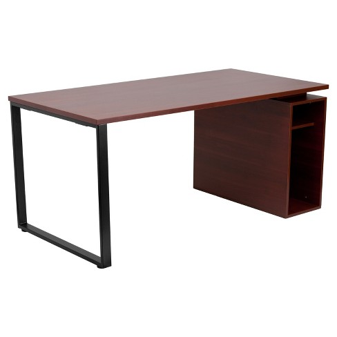 Mahogany Computer Desk with Open Storage Pedestal - Mahogany Laminate Top/Black Frame - Riverstone Furniture Collection - image 1 of 2