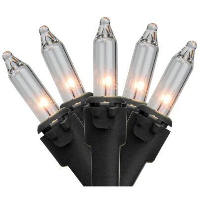 Brite Star 50-Count Clear Mini Christmas String Light Set, 12ft Black Wire