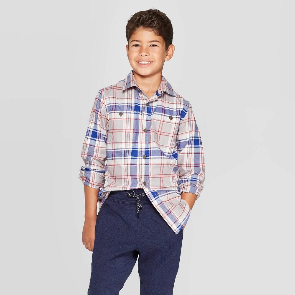 Image of Boys' Long Sleeve Button-Down Shirt - Cat & Jack Gray/Blue L, Boy's, Size: Large