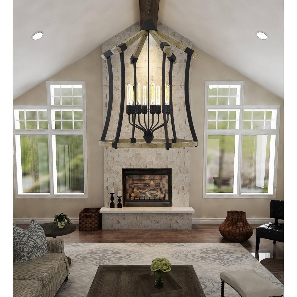 60W X 8 Dali Metal/Pine Wood Chandelier Iron/Light Oak - Cal Lighting, Multi-Colored