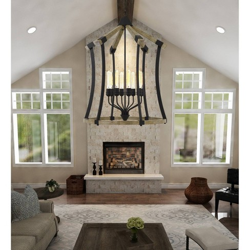 60W X 8 Dali Metal/Pine Wood Chandelier Iron/Light Oak - Cal Lighting - image 1 of 2