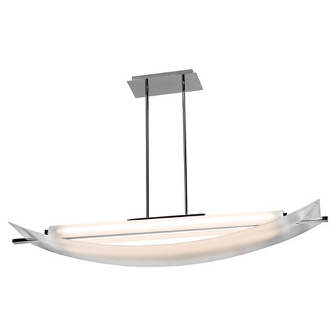 Thesis Linear Fluorescent Pendant with Frosted Glass Shade- Chrome - image 1 of 1