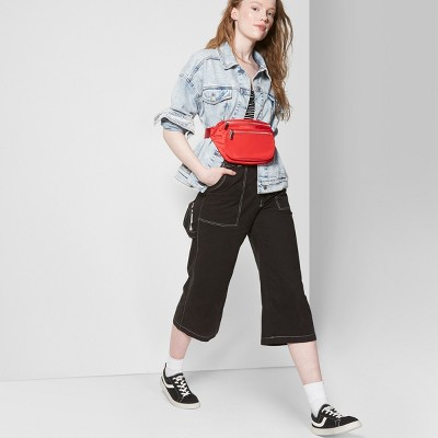 85ba96483e Women's Belted Contrast Stitch Wide Leg Pants – Wild Fable™ Black ...