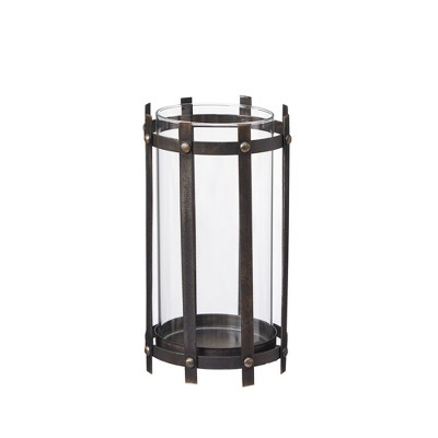 Charley Glass/Metal Large Candle Holder - Black