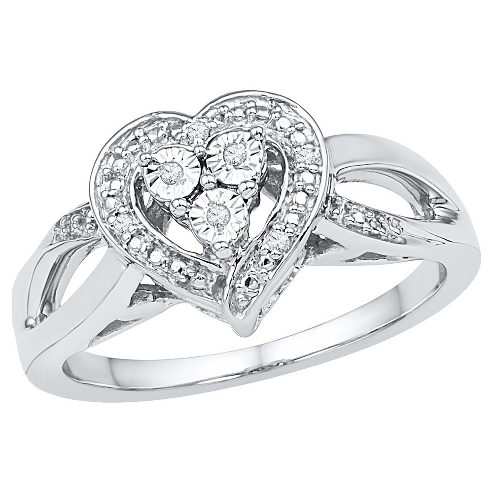 Women's Diamond Accent Prong/Miracle Set Heart Ring in Sterling Silver (IJ-I2-I3) (Size 8.5), White