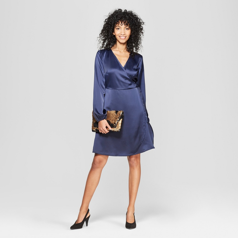 Women's Satin Wrap Dress - A New Day Navy M, Blue