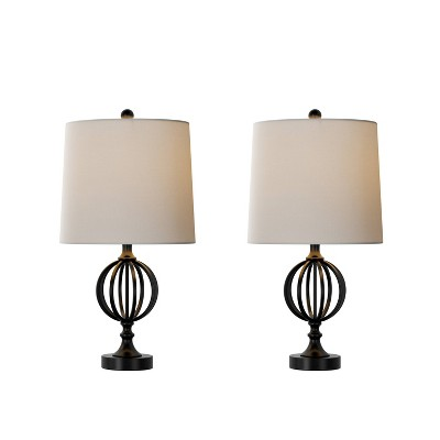 Table Lamps- Set of 2 Openwork Iron Orb (Includes LED Light Bulb)